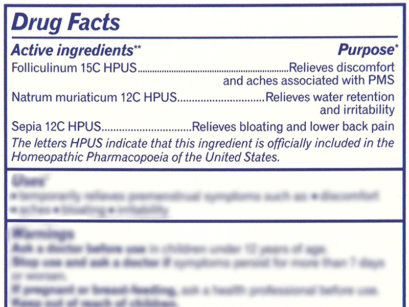 Boiron Cyclease PMS Ingredients