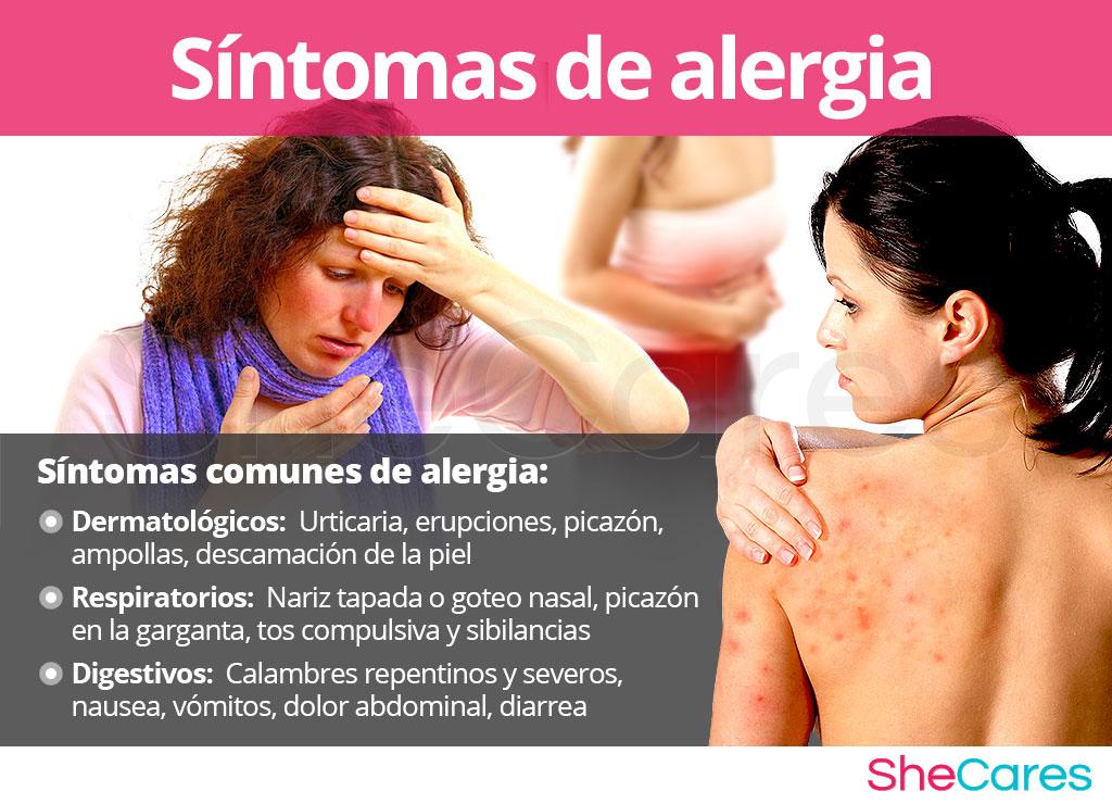 Síntomas de alergia en mujeres