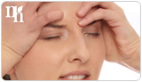 Estrogen replacement therapy alleviates symptoms such as headaches.