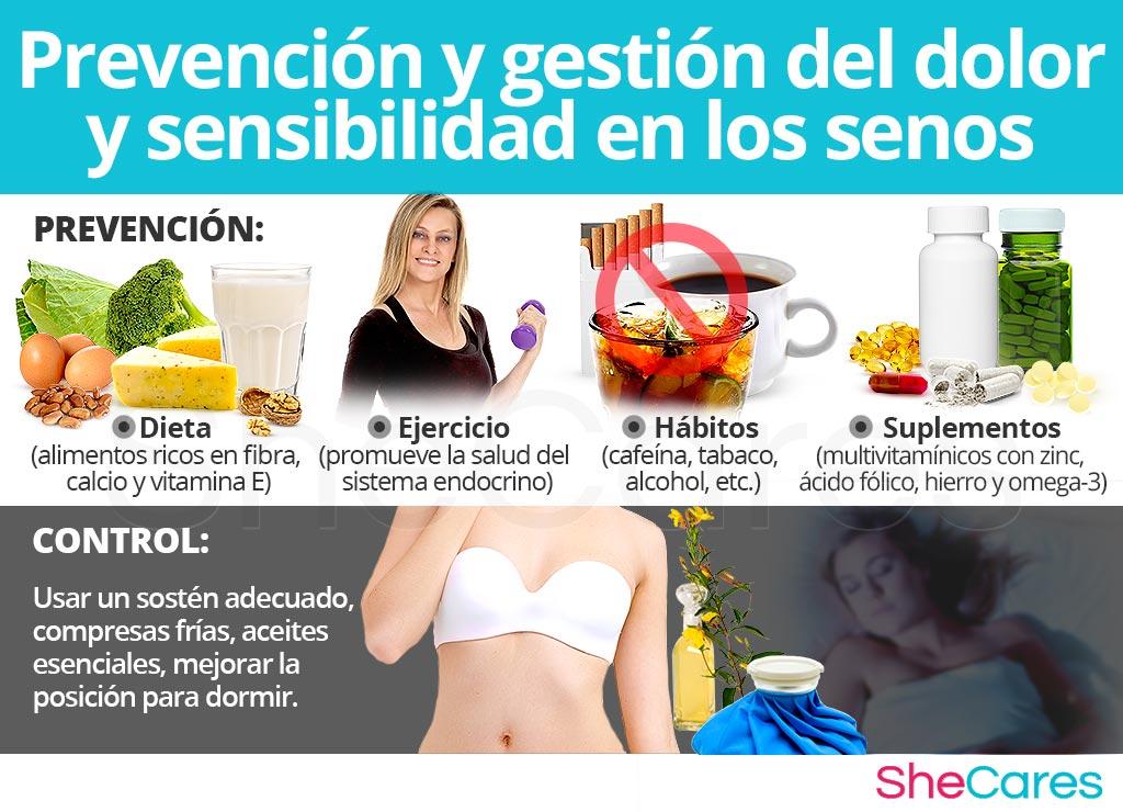 Prevención y control del dolor y sensibilidad en los senos.