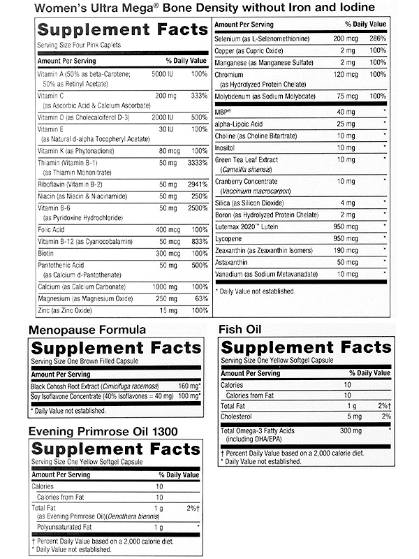 GNC Women's Ultra Mega Menopause Ingredients