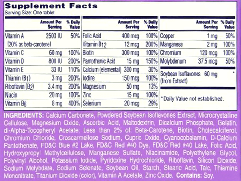 One A Day Women's Menopause Formula Ingredients
