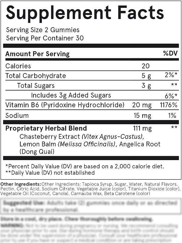 FLO PMS Gummy Vitamins Ingredients