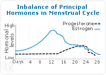 Imbalance of Principal Hormones in Menstrual Cycle.