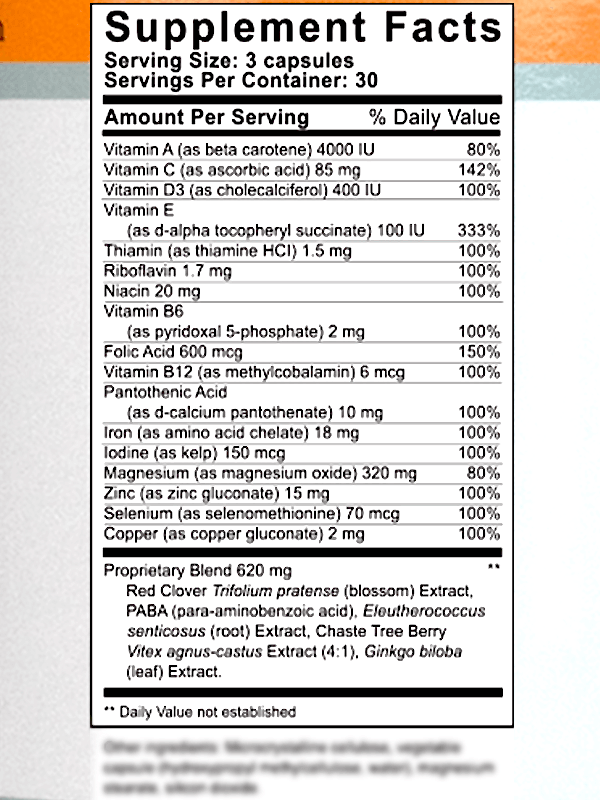 FertilAid for Women Ingredients