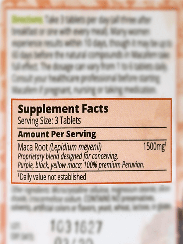 Macafem Conceiving Ingredients